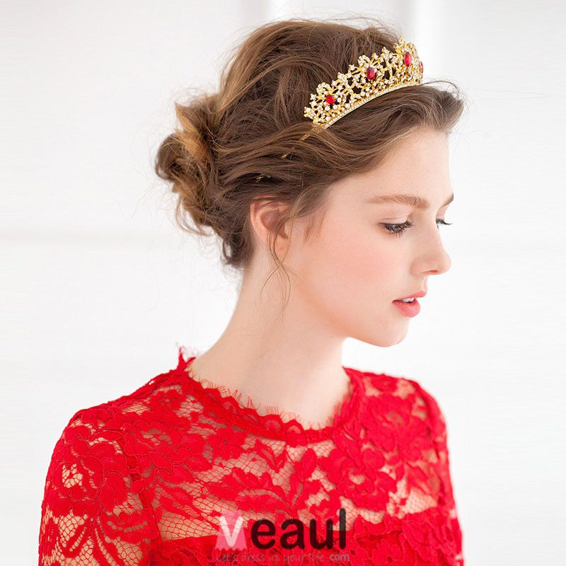Gold Vintage Red Rhinestone Mosaic Small Crown Tiara Wedding Dress Accessories