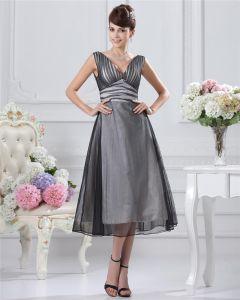 V-ringad Fotsida Satin Organza Festklänning Festklänningar