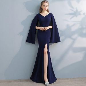 Unique Marineblau Abendkleider 2017 Mermaid V-Ausschnitt Lange Ärmel Lange Gespaltete Front Festliche Kleider