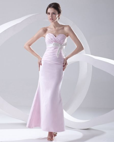 Fashion Satin Pleated Bowknot Sweetheart Sleeveless Ankle Length Bridesmaid Dress