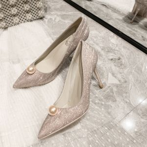 Glitter Champagne Parel Pailletten Bruidsschoenen 2021 Leer 10 cm Naaldhakken / Stiletto Spitse Neus Huwelijk Pumps