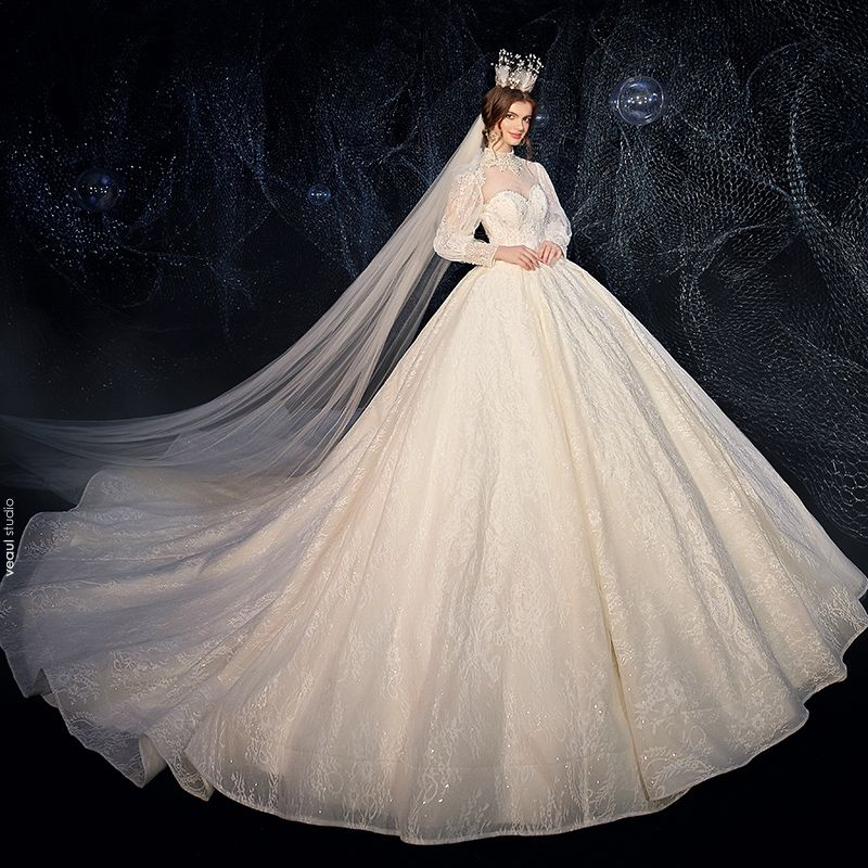 Vintage / Retro Victorian Style Champagne See-through Wedding Dresses 2020 Ball Gown High Neck Puffy Long Sleeve Backless Glitter Tulle Appliques Lace Beading Pearl Cathedral Train Ruffle