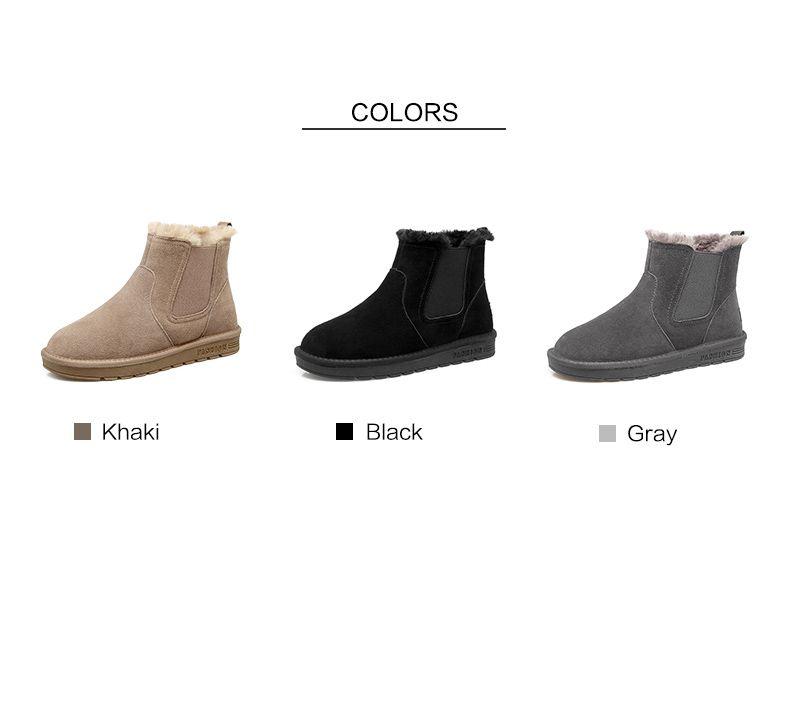 Moderne Mode Bottes Femme 2017 Noire Daim Bottines Cuir