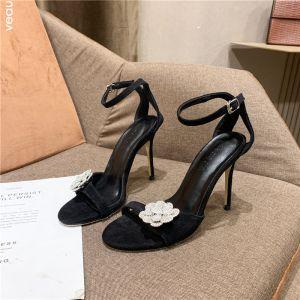 Enkel Svart Gateklær Sandaler Dame 2020 Rhinestone Blomst Ankelstropp 10 cm Stiletthæler Peep Toe Sandaler