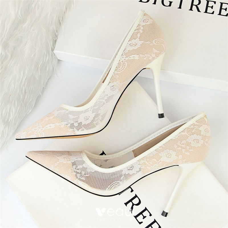 6e8e1728179 Chic / Beautiful Ivory Wedding Shoes 2018 Lace 10 cm Stiletto Heels ...