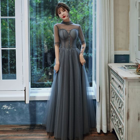 Charming Grey Evening Dresses  2020 A-Line / Princess Glitter Tulle High Neck Beading Rhinestone 1/2 Sleeves Backless Floor-Length / Long Formal Dresses