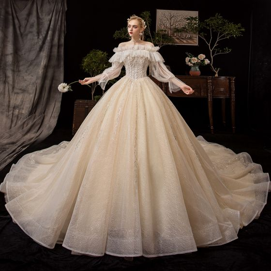 Victorian Style Champagne Wedding Dresses 2019 Ball Gown Off-The-Shoulder Detachable Puffy Long Sleeve Backless Glitter Tulle Appliques Lace Beading Cathedral Train Ruffle