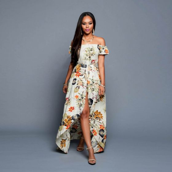 Chic / Beautiful High Low Multi-Colors Maxi Dresses 2018 A-Line / Princess Cotton Printing Strapless Beach Summer Women's Clothing