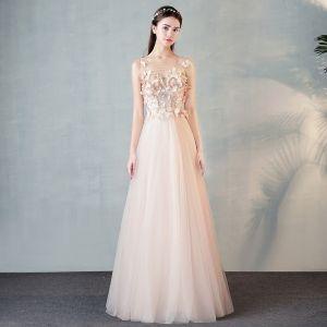 Moderne / Mode Perle Rose Transparentes Robe De Soirée 2018 Princesse Encolure Dégagée 3/4 Manches Papillon Appliques En Dentelle Longue Volants Robe De Ceremonie