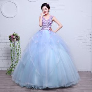 Charming Flower Fairy Sky Blue Prom Dresses 2020 Ball Gown V-Neck Pearl Lace Flower Appliques Sleeveless Backless Cascading Ruffles Floor-Length / Long Formal Dresses