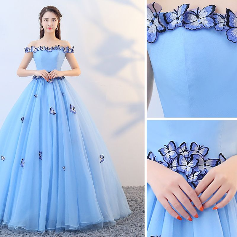 Chic / Beautiful Pool Blue Prom Dresses 2019 A-Line / Princess Off-The-Shoulder Lace Butterfly Sleeveless Backless Floor-Length / Long Formal Dresses