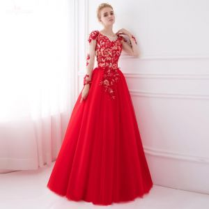 Charming Red See-through Prom Dresses 2018 A-Line / Princess Scoop Neck Long Sleeve Appliques Lace Beading Rhinestone Floor-Length / Long Ruffle Backless Formal Dresses