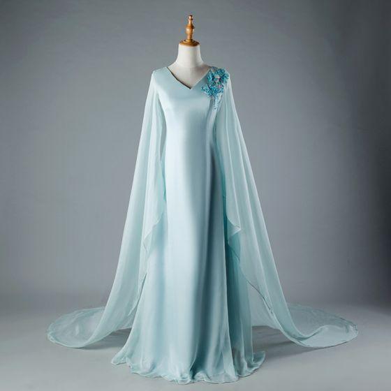 Kinesisk Stil Himmelblå Chapel Train Selskabskjoler 2018 Prinsesse V-Hals Tulle Med Kappe Applikationsbroderi Beading Selskabs Kjoler