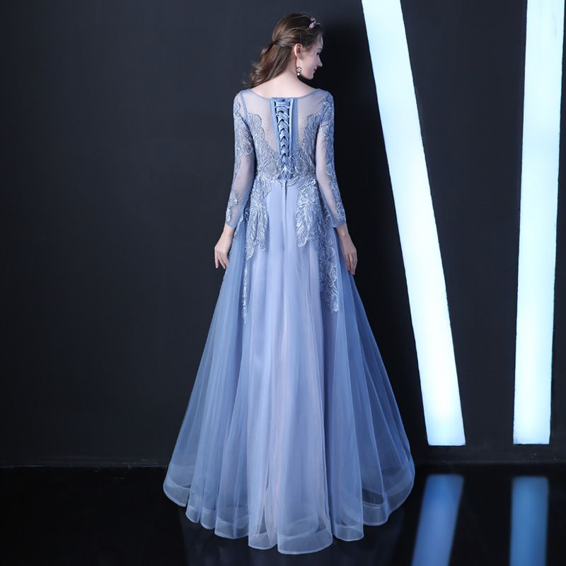 Elegant Blushing Pink See-through Evening Dresses  2019 A-Line / Princess Scoop Neck Long Sleeve Appliques Lace Beading Floor-Length / Long Ruffle Formal Dresses