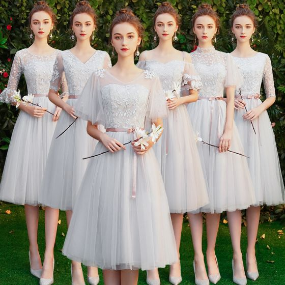 Affordable Grey Bridesmaid Dresses 2020 A-Line / Princess Backless Appliques Lace Sash Tea-length Ruffle