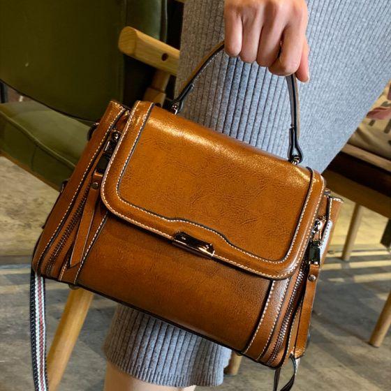 Vintage Tan Quadratische Handtasche Schultertaschen Umhängetasche 2021 Leder Freizeit Damentaschen