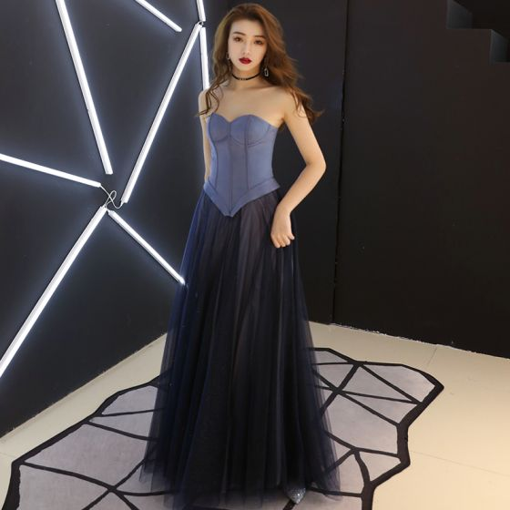 Elegant Navy Blue Corset Prom Dresses 2019 A-Line / Princess Sweetheart Sleeveless Glitter Tulle Floor-Length / Long Ruffle Backless Formal Dresses