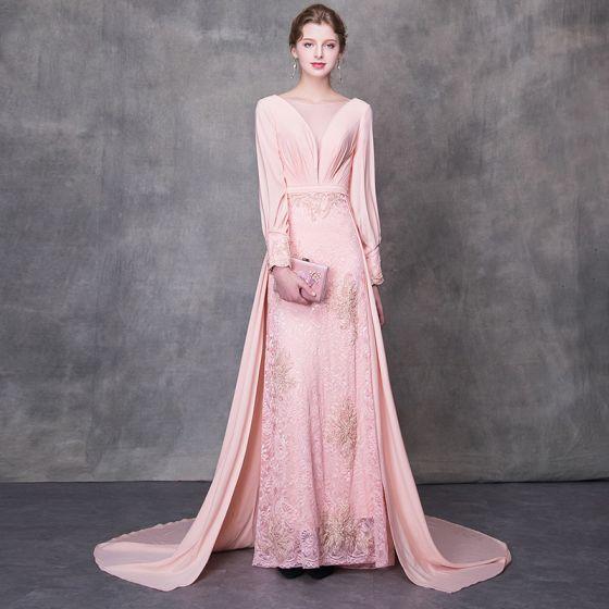 Betagende Perle Pink Pierced Selskabskjoler 2018 Prinsesse Scoop Neck Langærmet Beading Bælte Retten Tog Flæse Halterneck Kjoler