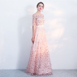 Chic / Beautiful Blushing Pink Evening Dresses  2017 A-Line / Princess Homecoming U-Neck Lace Backless Appliques Printing 1/2 Sleeves Evening Party Party Dresses