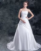 Taffeta Sequins Applique Court Train Strapless Ball Gown Women A Line Wedding Dress