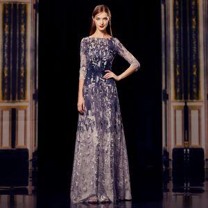 Fashion Grey Navy Blue Evening Dresses  2020 A-Line / Princess Square Neckline 3/4 Sleeve Appliques Lace Floor-Length / Long Ruffle Formal Dresses