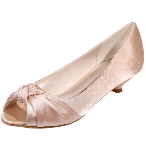 Classy Champagne Satin Bridesmaid Wedding Shoes 2020 3 cm Low Heel Open / Peep Toe Wedding Pumps