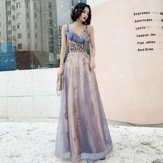 Chic / Beautiful Sky Blue Gradient-Color Evening Dresses  2020 A-Line / Princess Spaghetti Straps Sequins Lace Flower Sleeveless Backless Floor-Length / Long Formal Dresses