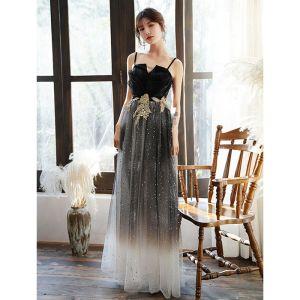 Fashion Black Evening Dresses  2020 A-Line / Princess Spaghetti Straps Star Sequins Rhinestone Lace Flower Sleeveless Backless Floor-Length / Long Formal Dresses