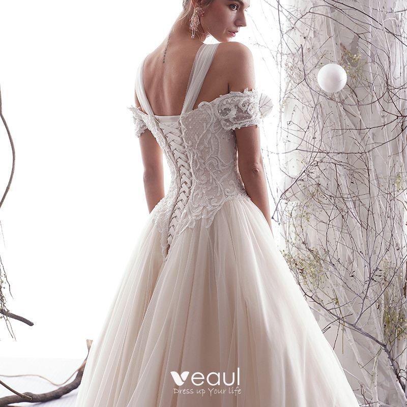 Elegant champagne wedding dresses 2019 a line princess A line wedding dress 2019