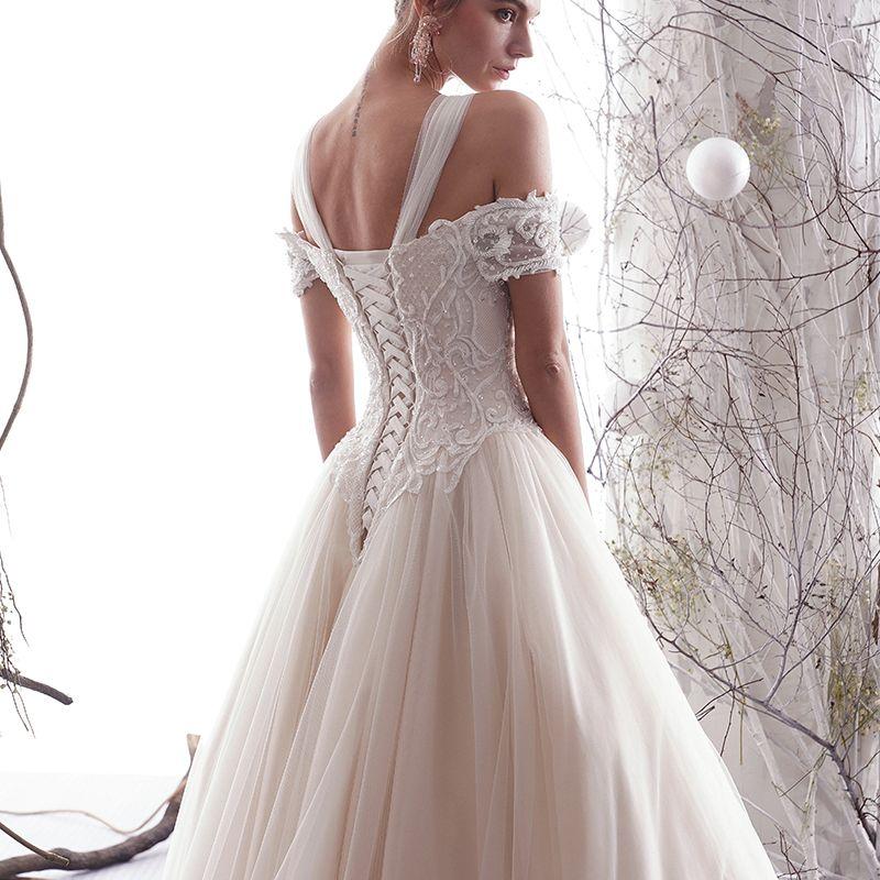 Elegant Champagne Wedding Dresses 2019 A-Line / Princess Off-The-Shoulder Beading Lace Flower Short Sleeve Backless Floor-Length / Long