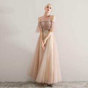 Élégant Champagne Robe De Bal 2019 Princesse Encolure Dégagée Perlage En Dentelle Appliques Volants Manches Courtes Dos Nu Longue Robe De Ceremonie