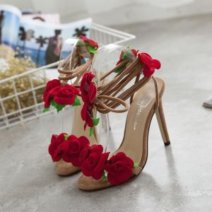 Modern / Fashion Red 2018 High Heels Homecoming Appliques Beading 11 cm Sandals Stiletto Heels Open / Peep Toe Womens Shoes