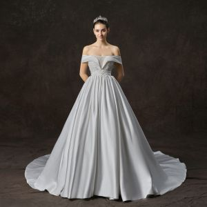 Elegant Ivory Satin Wedding Dresses 2019 A-Line / Princess Off-The-Shoulder Short Sleeve Backless Rhinestone Beading Pearl Cathedral Train Ruffle