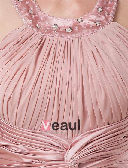 Chiffon Ruffle Halter Beading Tea Length Mothers of Bride Guests Dresses