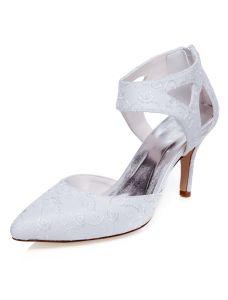 Schöne Stilettos Brautschuhe  Weiß Gestickte Satin Hochzeitsschuhe