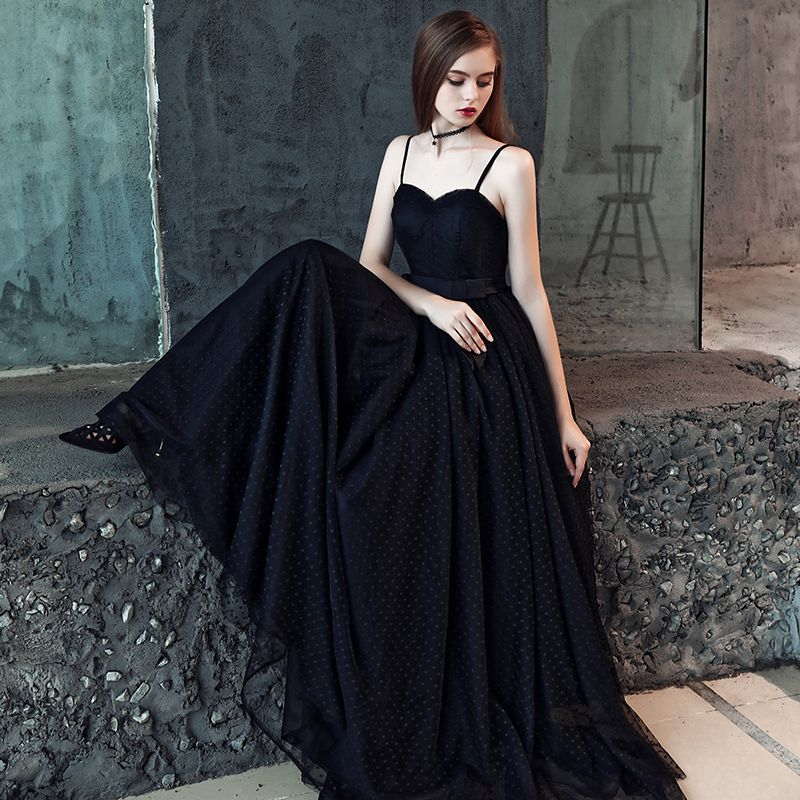 Affordable Black Prom Dresses 2019 A-Line / Princess Spaghetti Straps Sleeveless Bow Sash Spotted Tulle Floor-Length / Long Ruffle Backless Formal Dresses