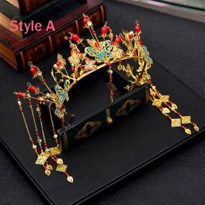 Chinese style Red Gold Metal Accessories 2018 Butterfly Tassel Tiara Bridal Jewelry