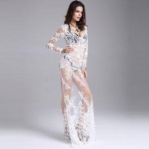 Sexy Blanche Robes longues 2018 Trompette / Sirène Transparentes En Dentelle Fleur V-Cou Manches Longues Longue Vêtements Femme