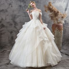 Affordable Champagne Outdoor / Garden Wedding Dresses 2019 Ball Gown Off-The-Shoulder Short Sleeve Backless Appliques Lace Sequins Floor-Length / Long Ruffle