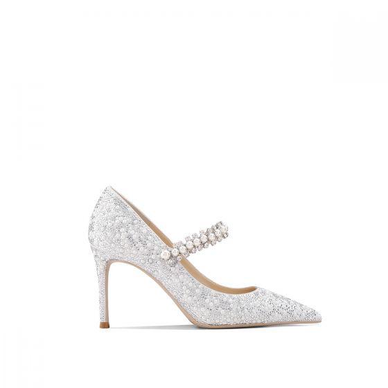 Luxus Ivory Glitter Brudesko 2020 Læder Rhinestone Perle 8 cm Stiletter Spidse Tå Bryllup Pumps
