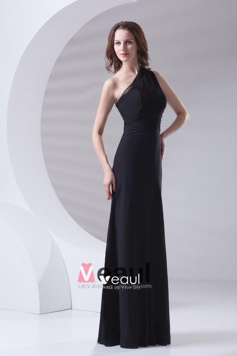 Slim Ruffle Design Sloping Neckline Floor Length Chiffon Bridesmaid Dress