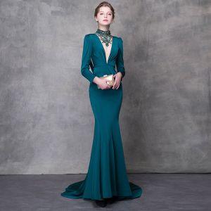 Luksusowe Tusz Niebieski Sukienki Wieczorowe 2018 Syrena / Rozkloszowane Kryształ Rhinestone Szarfa Wysokiej Szyi Bez Pleców Długie Rękawy Trenem Sweep Sukienki Wizytowe