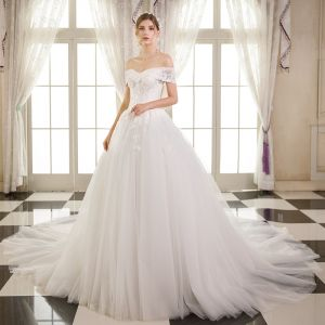 Elegant Ivory Wedding Dresses 2018 Ball Gown Lace Flower Sequins Off-The-Shoulder Backless Sleeveless Cathedral Train Wedding