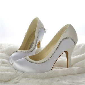 Sparkly Bridal Shoes Satin And Glitter Stilettos Pumps With Rhinestone