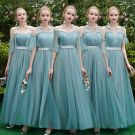 Elegant Jade Green Bridesmaid Dresses 2019 A-Line / Princess Sash Floor-Length / Long Ruffle Backless Wedding Party Dresses
