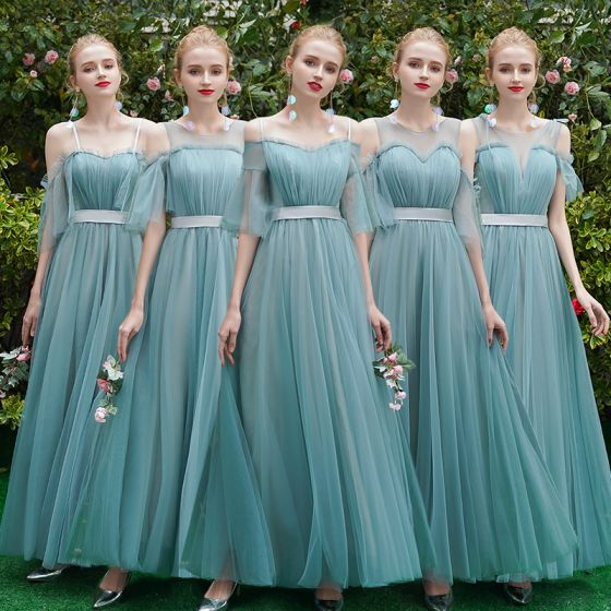 Elegant Jade Green Bridesmaid Dresses 2019 A-Line / Princess Sash Floor-Length / Long Ruffle Backless Wedding Party Dresses