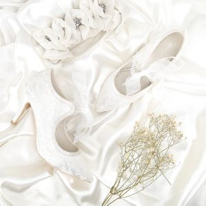 Chic / Beautiful Ivory Wedding Shoes 2018 Lace Lace-up Leather 8 cm Stiletto Heels Pointed Toe Wedding Pumps