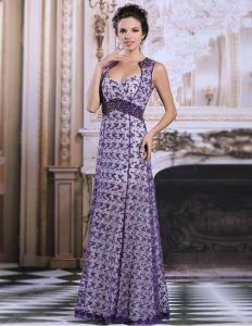 Eleganta Imperium Axlar Lila Spets Aftonklänning Festklänning
