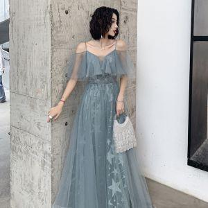 Charming Jade Green Evening Dresses  2019 A-Line / Princess Spaghetti Straps Star Lace Sleeveless Backless Floor-Length / Long Formal Dresses