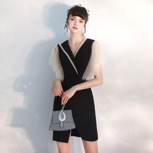 Mode Zwarte Feestjurken 2020 V-Hals Korte Mouwen Korte Gelegenheid Jurken